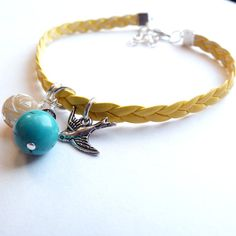 leather stacking bracelet turquoise mother of by MissLadysmith, $14.00