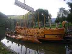 The Stella Noviomagi, the seaworthy replica of a Roman wine ship in harbour at…