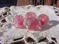 Rose Pink Givre Vintage Glass Beads by vintagebeadnut on Etsy