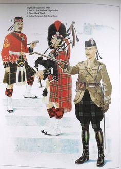 Highland Regiments 1914 1. Lt. Col, 5th Seaforth Highlanders 2. Piper, Black Watch 3. Colour Sergeant, 9th Royal Scots