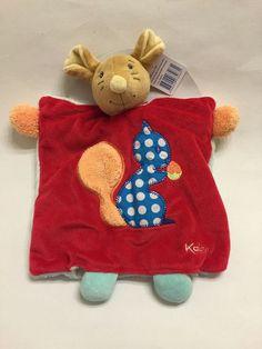 Kaloo Mouse Squirrel Blanket Puppet Dot Red Blue Comforter Doudou Plush Love New #Kaloo