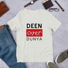 Deen Over Dunya Cool Muslim Unisex T-Shirt Mystery Box, Prism Color, Ash Color, Deen, My T Shirt, Shirt Ideas, Marker, Fabric Weights, Muslim