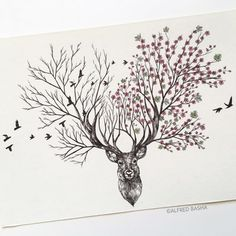 New Pen & Ink Depictions of Trees Sprouting into Animals by Alfred Basha is part of Drawings - Colossal Art, design, and visual culture Ink Pen Drawings, Animal Drawings, Tattoo Drawings, Drawing Sketches, Pen Sketch, Drawing Art, Art And Illustration, Nature Drawing, Plant Drawing