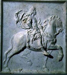 Pierre  Puget - Louis XIV on Horseback, relief sculpture