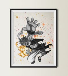 Fairy Tail Natsu  Watercolor illustrations Art Print by ColorInk, $20.00