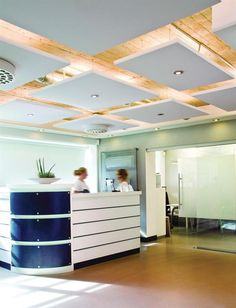 Ecophon Master Solo S suspended ceiling panels from CertainTeed contain 75% recycled content, have Class A sound absorption, and feature painted edges for a floating-ceiling look. The panels are hung by ceiling wires fastened to suspension anchors, which are screwed in near the center of the panels unexposed sides. Made from high-density fiberglass, the panels accommodate a variety of lighting systems and have a noise reduction coefficient of 0.95. The visible surface of each panel has an…