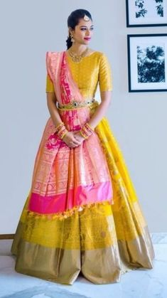 Silk lehnga look pretty, you do not have to invest in expensive lehnga's if you have silk sarees. Find out how to use Old Silk Saree's To Make Lehnga Sets. Lehenga Saree Design, Half Saree Lehenga, Lehnga Dress, Lehenga Style, Red Lehenga, Bridal Lehenga Choli, Lehenga Designs, Sari, Half Saree Designs