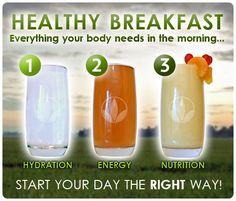 Inizia la giornata nel modo giusto. 3 passi in leggerezza per iniziare un altro giorno pieno di energia e vitalità: 1-Idratazione 2-Energia 3-nutrizione  Semplice e veloce, per sapere come fare non esitare a contattarmi, risponderò a tutte le tue domande