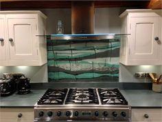 'Fissure' bespoke glass splash back Glass Installation, Interior Accessories, Kitchen Extractor, Glass Splashback, Interior, Kitchen, Glass Kitchen, Kitchen Appliances, Splashback