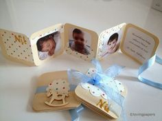 Detalles de bautizo Mini album de fotos Baby Boy Baptism, Baby Christening, Christening Favors, Christening Invitations, Baby Shower Favors, Hot Air Balloon Party, Bautizo Diy, Baptism Cards, Baby Dedication