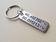 Coordinates Keychain, Latitude Longitude Keychain, Location Keychain, Personalized Keychain, GPS Keychain, Couples Keychain Anniversary Gift by JewelryEveryday on Etsy https://www.etsy.com/listing/172137396/coordinates-keychain-latitude-longitude