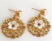 HOLIDAY SALE Romantic Gold Flower Stud Earrings - Bridal Crystal Earrings - Rhinestone Wedding Earrings - Gold Bridal Earrings