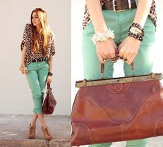 Love- this look! Leopard and soft teal capris- and this bag is fabulous!