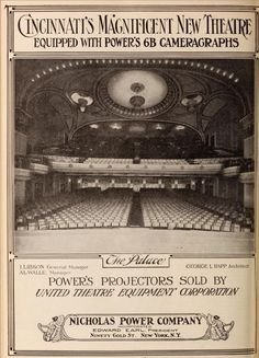 Palace Theatre, 16 E. Sixth Street, Cincinnati, OH,Exhibitors Herald, January 17, 1920  #theatre #moviepalace #ohio #cincinnati #theatretalks