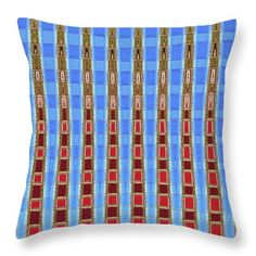 Arizona Saguaro Forest Abstract Throw Pillow featuring the digital art Arizona Saguaro Forest Abstract by Tom Janca