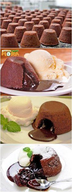 Receita de Petit Gateau – Petit Gateau Fácil e Delicioso Sweet Recipes, Cake Recipes, Dessert Recipes, Lava Cakes, Cupcake Cakes, Bakery, Sweet Treats, Food And Drink, Cooking Recipes