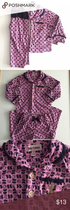 Juicy Couture Pajamas. 2T Adorable Juicy Couture Pajamas Set. Size 2T. Button up long sleeve top and matching pants. Normal wash wear. Juicy Couture Pajamas Pajama Sets