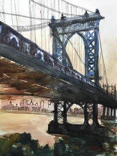 A personal favorite from my Etsy shop https://www.etsy.com/ca/listing/287121909/brooklyn-bridge-new-york-watercolors