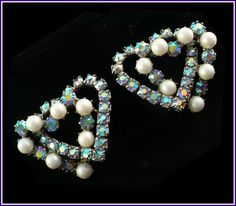 Aurora Borealis Rhinestone & Pearls Double-Heart Clip-On Earrings   by MarlosMarvelousFinds, $24.00