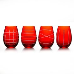 Red Medallion Stemless Wine Glasses, Set of 4 (51 BAM) ❤ liked on Polyvore featuring home, kitchen & dining, drinkware, glass wine glasses, red wine glass, red wine glasses, wine glass and red glass wine glasses