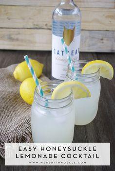 Easy cocktail for summer - Honeysuckle lemonade with Cathead Vodka. | www.meredithnoelle.com