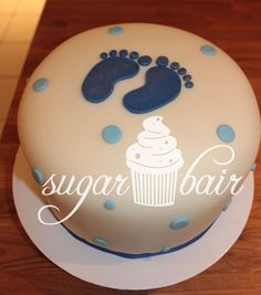baby boy footprint cake