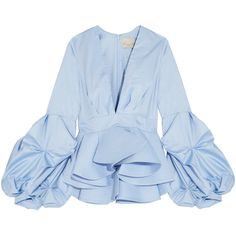 Johanna Ortiz St. Barts cotton-poplin peplum top ($1,045) ❤ liked on Polyvore featuring tops, johanna ortiz, light blue, light blue peplum top, ruched tops, slimming tops, light blue top and ruffle top