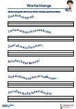 #Uebungsblätter #Rechtschreibung #Wortschlange 1.Klasse  Wortschlange 1. Klasse   Arbeitsblätter / Übungen / Aufgaben für den Rechtschreib- und Deutschunterricht – Grundschule.   Es handelt sich um 60 Sätze, die auf 10 Arbeitsblätter verteilt sind. Nach jedem Wort muss ein Strich gemacht und wird danach als Satz aufgeschrieben.  1.Klasse – Grundschule.