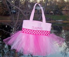 Have this for dance!  Embroidered dance bag  Pink with Pink Polka Dot by naptime21, $15.00