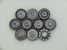 Set of 10 Black and White Mandala Cabinet Knobs