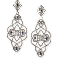 Armenta New World Diamond & Sapphire Scroll Earrings ($2,490) ❤ liked on Polyvore featuring jewelry, earrings, brinco, na, post earrings, champagne earrings, sapphire earrings, diamond jewelry and white earrings