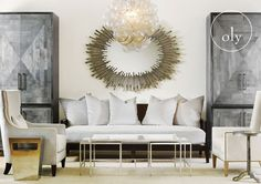 Inspiration 7 - Adeline Side Table, Abe Chair, Parker Armoire, Noah Sofa, Rory Mirror, Muriel Chandelier, Sienna Chair, Max Side Table, Jonathan Nesting Tables