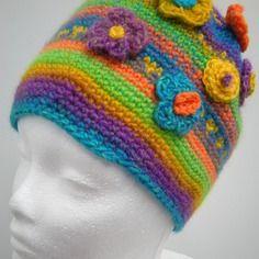 Bonnet pour femme - tons bleu, mauve, vert, orange, jaune