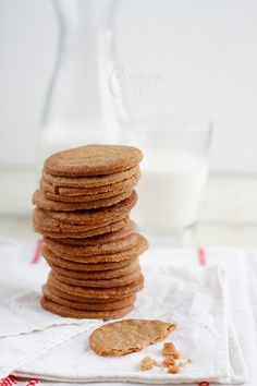 Speculoos Cookies = These thin biscuits are made of brown sugar, butter, flour and that glorious spice mixture containing: cinnamon, clove, ginger, white pepper, cardamom, nutmeg.