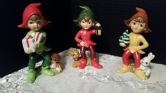 Adorable set of 3 Christmas Elves by HomCo by www.shellysselectsalvage.etsy.com $24 for set