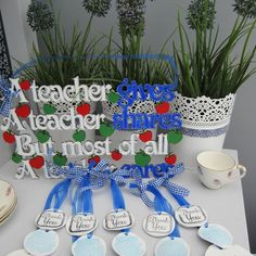 Product   Thank you Teacher Clays in School Colours   Henry, Oscar and Me Clays, School Colors, Your Teacher, Handmade Crafts, Planter Pots, Colours, Holiday Decor, Home Crafts, Water Crafts