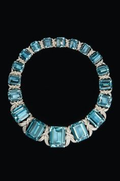 rubies.work/… Aquamarine and diamond necklace, 1933.