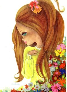 Big Eyed Girl with Flowers, Vintage 70s