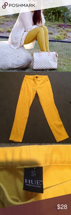 Yellow Hue leggings Like New. Size Small. Great color for the Summer, Fall, or Spring. Great quality pants. A staple for every closet. Look great with sandals for the beach or heels for a classier more put together look. Yellow hue legging short pant. Bundle to save. HUE Pants Leggings