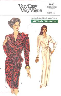 VOGUE 7660 - FROM 1989 - UNCUT - MISSES DRESS
