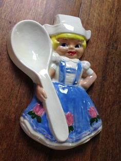 VINTAGE MID-CENTURY 1950'S KITSCH KITCHEN CERAMIC DUTCH GIRL SPOON REST