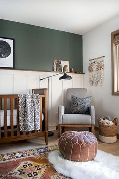 25 Wainscoting Ideas With Pros And Cons , a cozy nursery with an accent wall in dark green and with white wainscoting... ,  #Cons #Ideas #Pros #Wainscoting