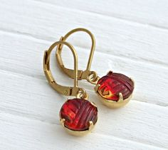 Cranberry Earrings .. red earrings small by beadishdelight on Etsy