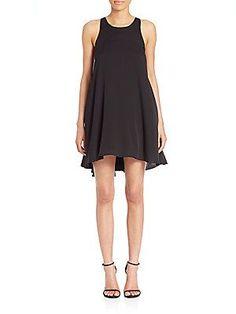 MILLY Silk Trapeze Dress - Black - Size
