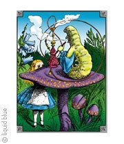 Light Fantasy Alice And Caterpillar Tie-Dye T-Shirt Tee Liquid Blue