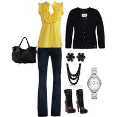 Outfit- Yellow and Black, created by melissa-bachman.polyvore.com