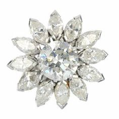 A diamond floral cluster ring.