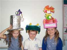 hats made from recycled materials | Our challenge was to make an Easter bonnet using recycled materials ...