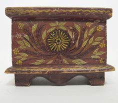 Antique Primitive Hand Painted Floral Wooden Folk Art Dresser Top Box NR yqz