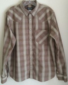 Patagonia Men's Western Style Pearl Snap Shirt - Size Medium - Brown Long Sleeve #Patagonia #Western